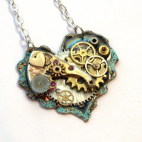 """Steampunk Necklace """"The Inner Workings of the Heart"""" No.1"""