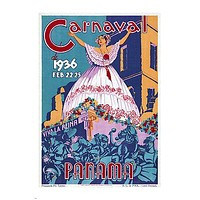 CARNAVAL de Panama 1936 VINTAGE travel poster 24X36 FIESTA QUEEN hot new