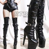 "EXTREME Fetish 8"" Platform High Heel 3 Buckle Strap Mid Thigh 60cm Custom Boot"