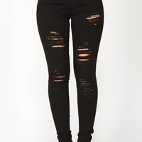 Non Stop Distressed Skinny Jeans - Black