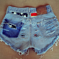 Levi High waisted denim shorts American flag Stars and Stripes Hipster Grunge clothing Distressed ripped destroyed Custom Made To Order