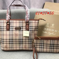 Perfect Burberry Women Fashion Leather Satchel Tote Shoulder Bag Crossbody Set Two Piece
