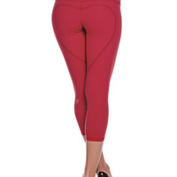 Heart Butt Yoga Capri - Deep Red