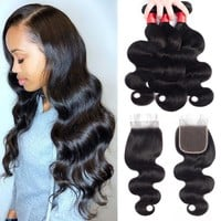 Superfect Brazilian Hair Weave Bundles Human Hair Bundles With Closure Brazilian Virgin Hair Body Wave Bundles With Closure