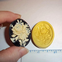 Rose Flower Cameo Flexible Push Mold Mould For Resin Clay Chocolate - Food Safe Silicone -  J351