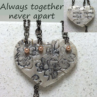 Heart Puzzle Necklace Set of 4 Always Together Interlocking Necklaces with Swarovski Pearls Cherry Blossom  Polymer Clay