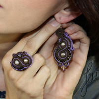Infinity, soutache, earrings, unique handcrafted jewellery, brown, coffee
