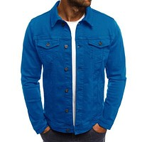 Mens Denim Fashion Casual Streetwear Cardigan Jacket Coat