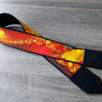 Flowers Camera Strap. For Her. Gift For Women. Birthday Gift. Yellow Orange Red  Camera Strap.  Photo Accessories