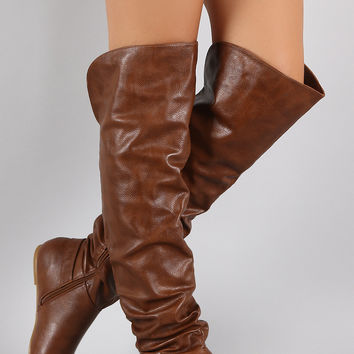 Bamboo O-Ring Cuff Slouchy Over-The-Knee Boots