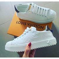 Louis Vuitton LV Sneakers Embossing Contrast Shoes monogram tail White