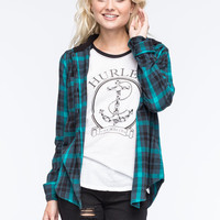 Hurley Wilson Womens Hooded Flannel Shirt Teal Blue  In Sizes