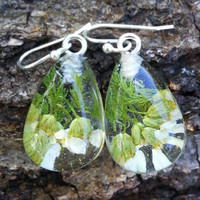 Real Flower Earrings - Resin Jewelry - Gifts for Her - Preserved Flower - Nature Inspired Jewelry - Pressed Flowers - Silver Earrings