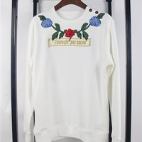 Indie Designs Gucci Inspired Flower and Tree Embroidered Cotton Sweatshirt