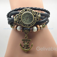 Steampunk wrist watch,Anime one piece wrist watch with leater bacelet chain,with skull anchor charms braclet RWOP01