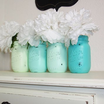 4- Hand Painted Pint Mason Jar Flower Vases-Seafoam Collection-Country Decor-Cottage Chic-Shabby Chic-French Chic