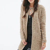 FOREVER 21 Longline Loop-Knit Cardigan Taupe