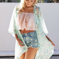 Sexy Women's Floral Printed Chiffon Blouse 3/4 Sleeve Chiffon Kimono Cardigan Tops Blouses Jacket Woman Beach Cover Up