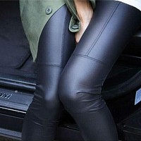 Fashion Patchwork Women Leggings Repair Fitting Female Pants Ankle Length Trousers Faux Leather Legging