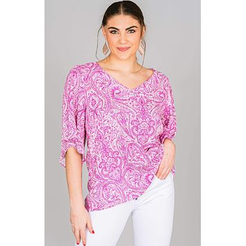 Bell Sleeve Paisley Blouse
