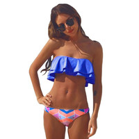 swimming suit for women Bandeau Bikini Set Swimwear Swimsuit Tankini Top Removable Straps Padded Beach Bathing Suit Royal Blue