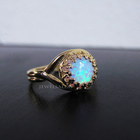Fire Opal Ring Gold Oxidized Sterling Silver Rainbow Ombre Ring Glitter Confetti Gift for Sister Friendship Best Friend Promise Ring