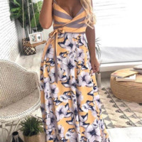 Colorblock printed maxi dress cross strap dress