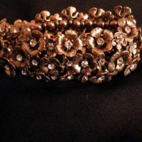 Free People Gold Floral Braclet Jewelry 53% off retail