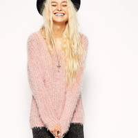 Pink long-Sleeve Knitted Sweater