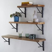 Reclaimed Wood Shelf + Branch Brackets