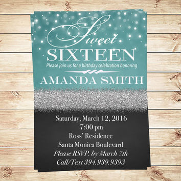 Blue Sweet 16 Birthday Party Personalized Invitation, Elegant Blue Sweet Sixteen Birthday Party Invite, 16th Party, Art Party Invitation