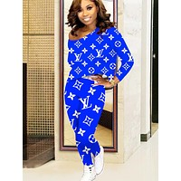 LV Louis Vuitton Autumn And Winter New Fashion Monogram Letter Print Long Sleeve Leisure Top And Pants Two Piece Suit WomenLong Sleeve Leisure Top And Pants Two Piece Suit Women Blue
