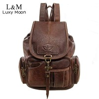 Women Vintage PU Leather Travel Backpack