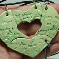Friendship necklaces set of 4 puzzle pieces with friendship quote Always together Aromatherapy Green