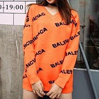 Balenciaga Trending Women Stylish Jacquard Long Sleeve V Collar Sweater Pullover Top Sweatshirt
