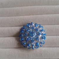 Closing sale - Blue and silvertone crystal  brooch  pin