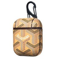 Goyard Stylish Lovely iPhone Airpods Headphone Case Wireless Bluetooth Headphone Protector Case(No Headphones) Yellow