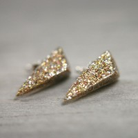 spike post earrings in shimmery gold by tinygalaxies on Etsy