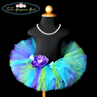 Tropical Turquoise Purple Lime Birthday Tutu...For Baby Girls, Toddlers, Girls Sizes...Dance, Photo Prop, Pageant . . . SIREN