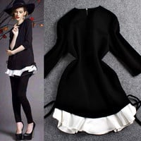 Solid Long Sleeves Tie Ruffled Flounced Hem Mini  Dress