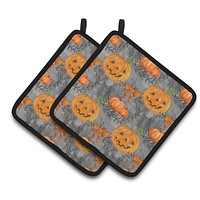 Watecolor Halloween Pumpkins Pair of Pot Holders BB7521PTHD