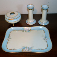 Hand Painted Porcelain Vanity Set, Tray, Candlesticks and Hair Receiver Vintage
