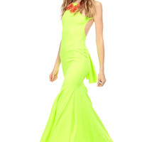 Neon Green Flutter Train Maxi Dress
