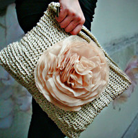 Oversized Clutch Champagne Ivory with Huge Chiffon Flower Pin