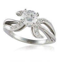 Vivadore Sweeping Bypass Diamond Engagement Ring With Milgrain Detailing