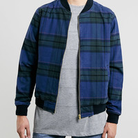 NAVY CHECK BOMBER JACKET - Topman
