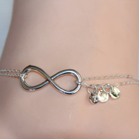 initial infinity anklet/bracelet, couples anklet,silver charm anklet, double chain anklet, summer trending,lucky jewelry,personalized gift