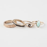 Full Tilt 4 Piece Tribal Etch/Turquoise Rings Antique Gold  In Sizes