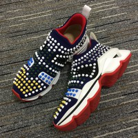 Christian Louboutin Cl Funfor Run Neoprene Multi Color Sneakers - Best Online Sale