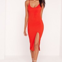 Missguided - Strappy Scoop Neck Midi Dress Red
